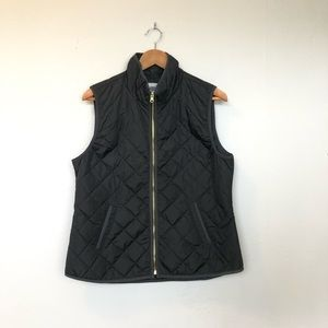 Old Navy Black Quilted Vest With Gold Zipper Large